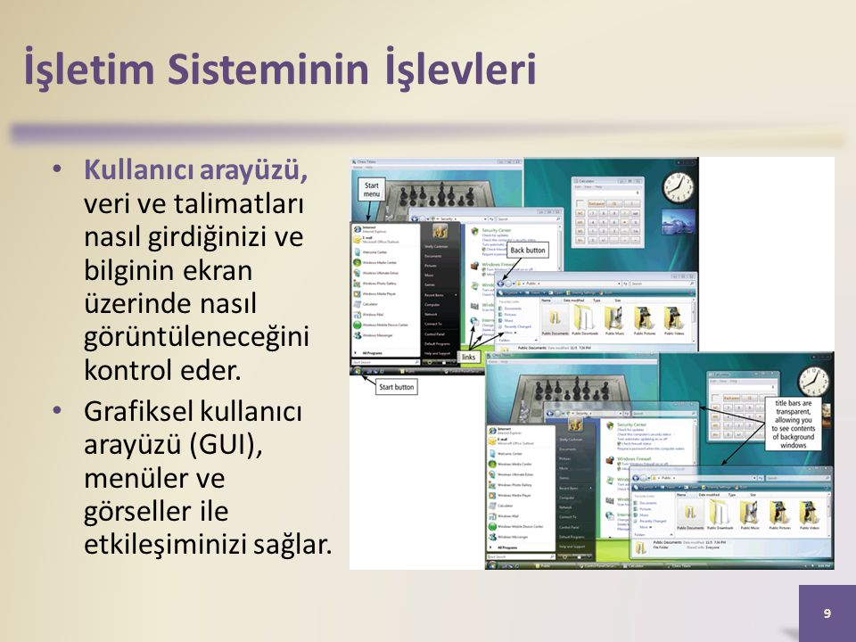 İşletim Sisteminin İşlevleri • Kullanıcı arayüzü, veri ve talimatları nasıl girdiğinizi ve bilginin ekran üzerinde nasıl görüntüleneceğini kontrol ede