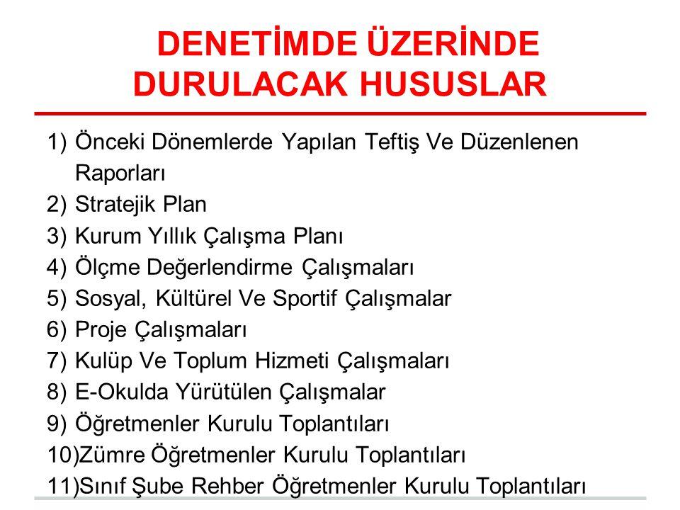 DENETİMDE ÜZERİNDE DURULACAK HUSUSLAR 1)Önceki Dönemlerde Yapılan Teftiş Ve Düzenlenen Raporları 2)Stratejik Plan 3)Kurum Yıllık Çalışma Planı 4)Ölçme