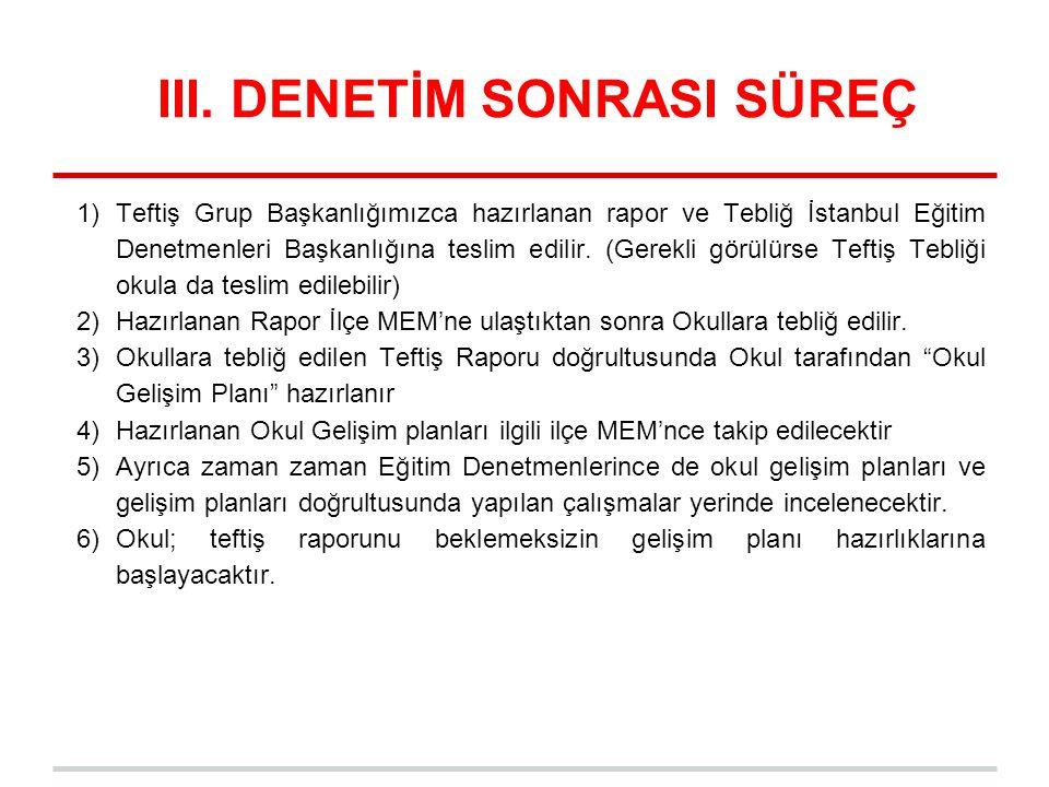 III. DENETİM SONRASI SÜREÇ 1)Teftiş Grup Başkanlığımızca hazırlanan rapor ve Tebliğ İstanbul Eğitim Denetmenleri Başkanlığına teslim edilir. (Gerekli