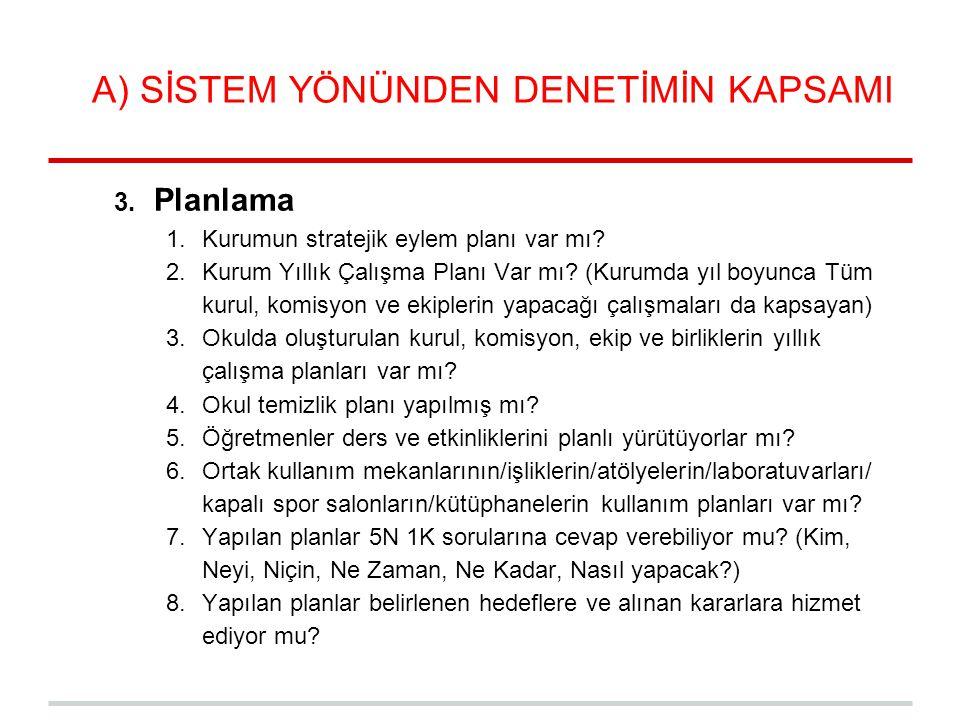 A) SİSTEM YÖNÜNDEN DENETİMİN KAPSAMI 3. Planlama 1.Kurumun stratejik eylem planı var mı? 2.Kurum Yıllık Çalışma Planı Var mı? (Kurumda yıl boyunca Tüm