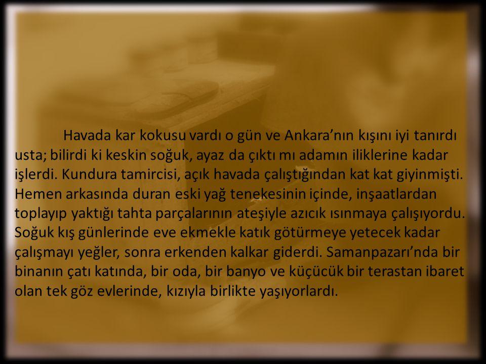 Havada kar kokusu vardı o gün ve Ankara'nın kışını iyi tanırdı usta; bilirdi ki keskin soğuk, ayaz da çıktı mı adamın iliklerine kadar işlerdi.