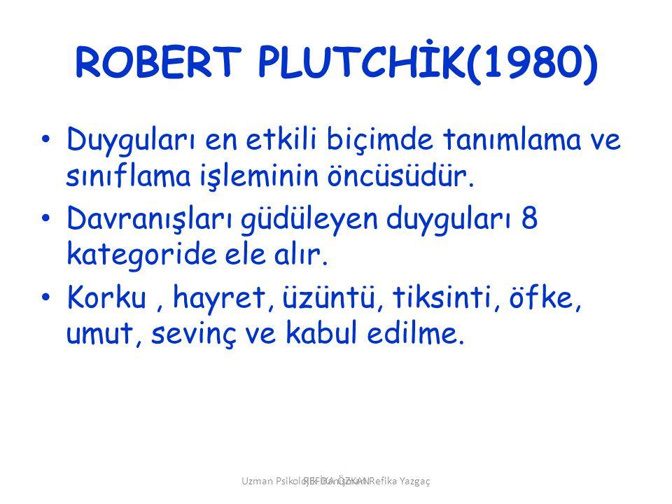 Uzman Psikolojik Danışman Refika Yazgaç ROBERT PLUTCHİK(1980) • Duyguları en etkili biçimde tanımlama ve sınıflama işleminin öncüsüdür. • Davranışları