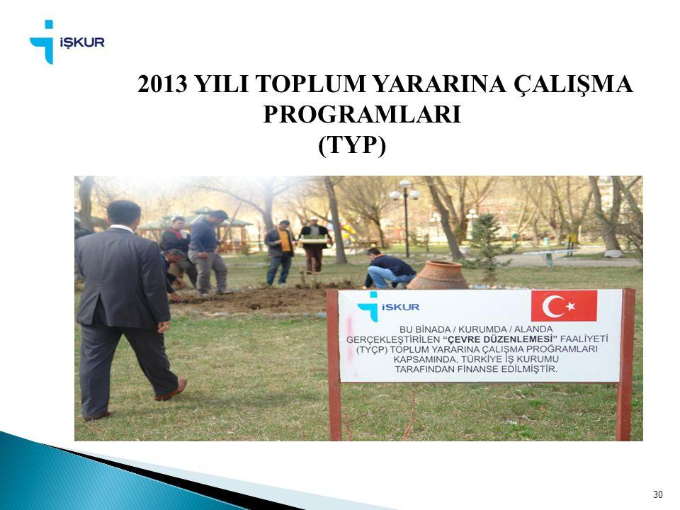 2013 YILI TOPLUM YARARINA ÇALIŞMA PROGRAMLARI (TYP) 30