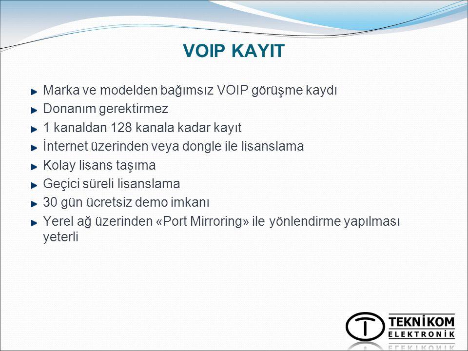 VOIP KAYIT Marka ve modelden bağımsız VOIP görüşme kaydı Donanım gerektirmez 1 kanaldan 128 kanala kadar kayıt İnternet üzerinden veya dongle ile lisa