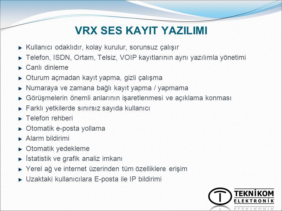 VRX SES KAYIT YAZILIMI Kullanıcı odaklıdır, kolay kurulur, sorunsuz çalışır Telefon, ISDN, Ortam, Telsiz, VOIP kayıtlarının aynı yazılımla yönetimi Ca