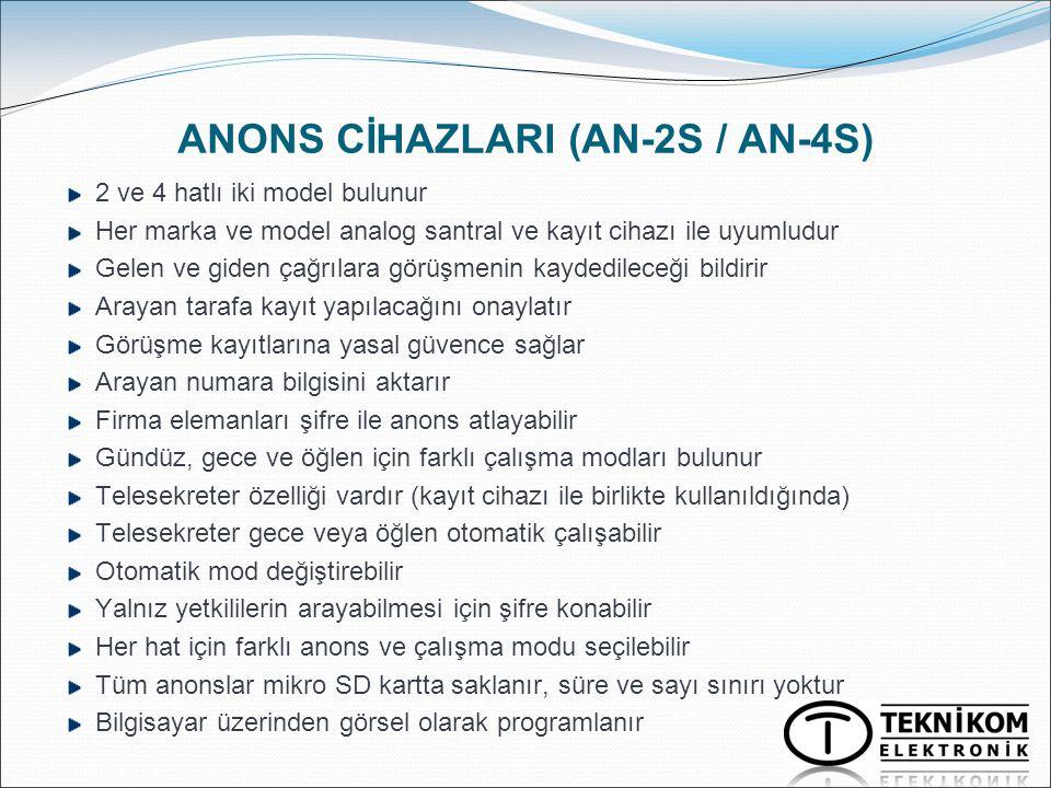 ANONS CİHAZLARI (AN-2S / AN-4S) 2 ve 4 hatlı iki model bulunur Her marka ve model analog santral ve kayıt cihazı ile uyumludur Gelen ve giden çağrılar