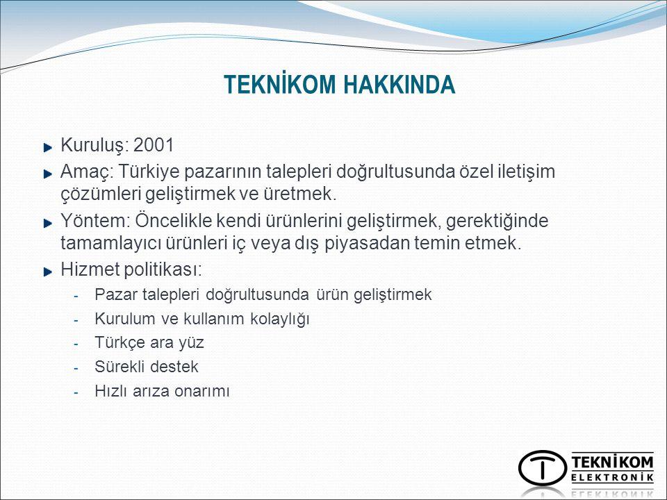 TEKNİKOM HAKKINDA Kuruluş: 2001 Amaç: Türkiye pazarının talepleri doğrultusunda özel iletişim çözümleri geliştirmek ve üretmek. Yöntem: Öncelikle kend