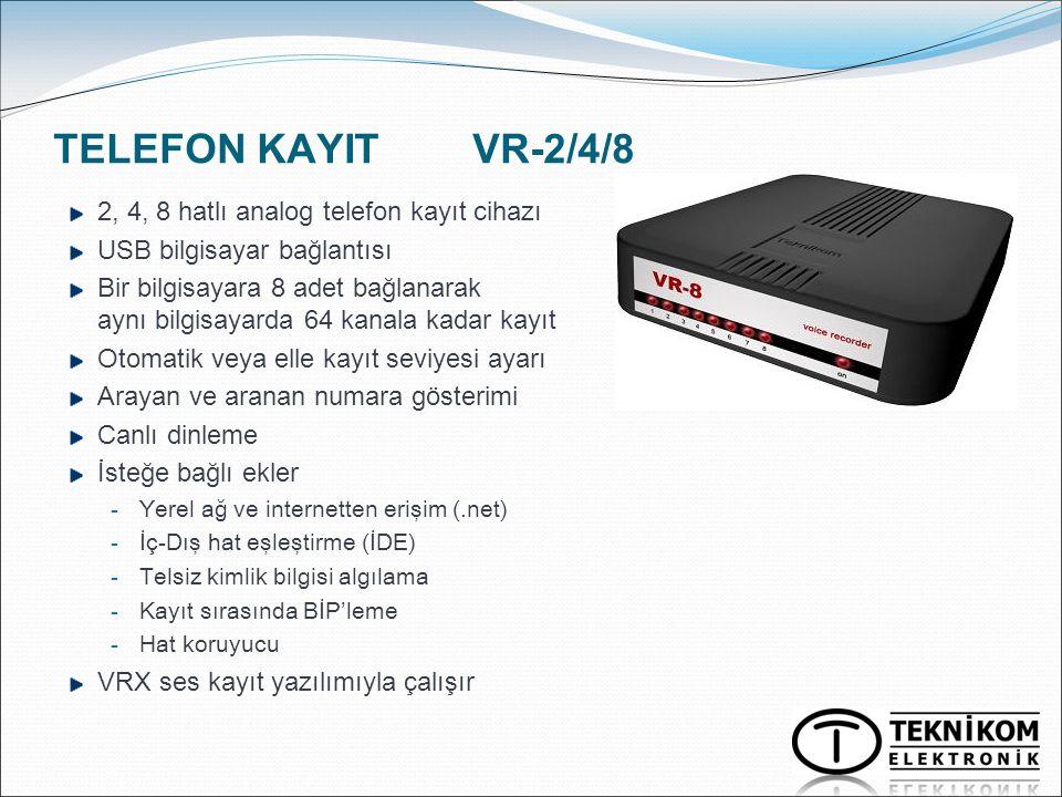 TELEFON KAYIT VR-2/4/8 2, 4, 8 hatlı analog telefon kayıt cihazı USB bilgisayar bağlantısı Bir bilgisayara 8 adet bağlanarak aynı bilgisayarda 64 kana