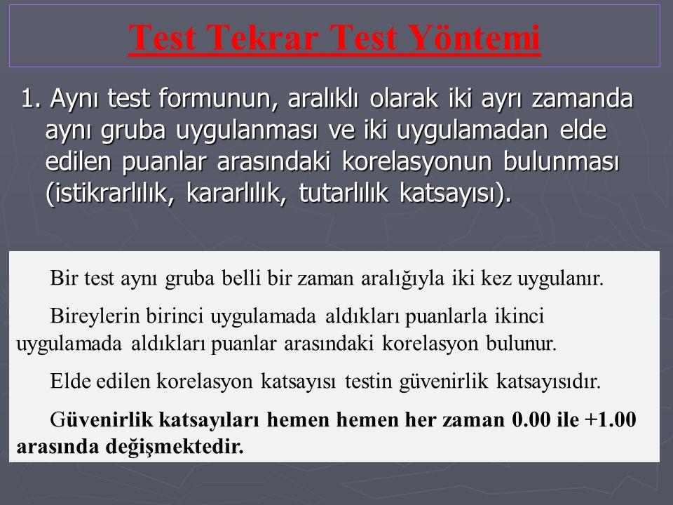 Test Tekrar Test Yöntemi 1. Aynı test formunun, aralıklı olarak iki ayrı zamanda aynı gruba uygulanması ve iki uygulamadan elde edilen puanlar arasınd