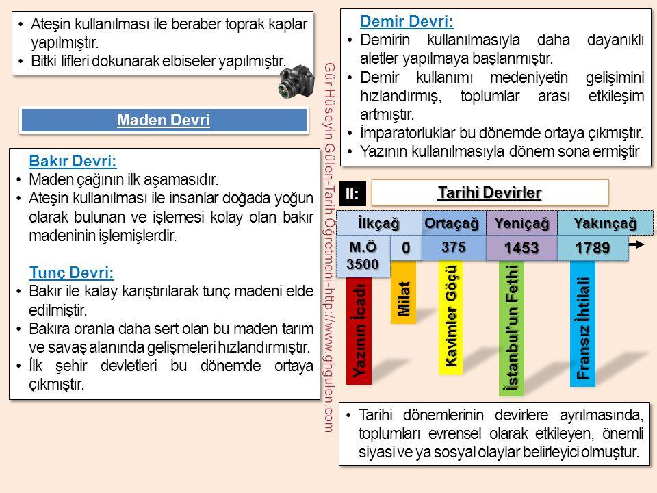 Fransız İhtilali İstanbul'un Fethi Yazının İcadı Demir Devri: •Demirin kullanılmasıyla daha dayanıklı aletler yapılmaya başlanmıştır. •Demir kullanımı