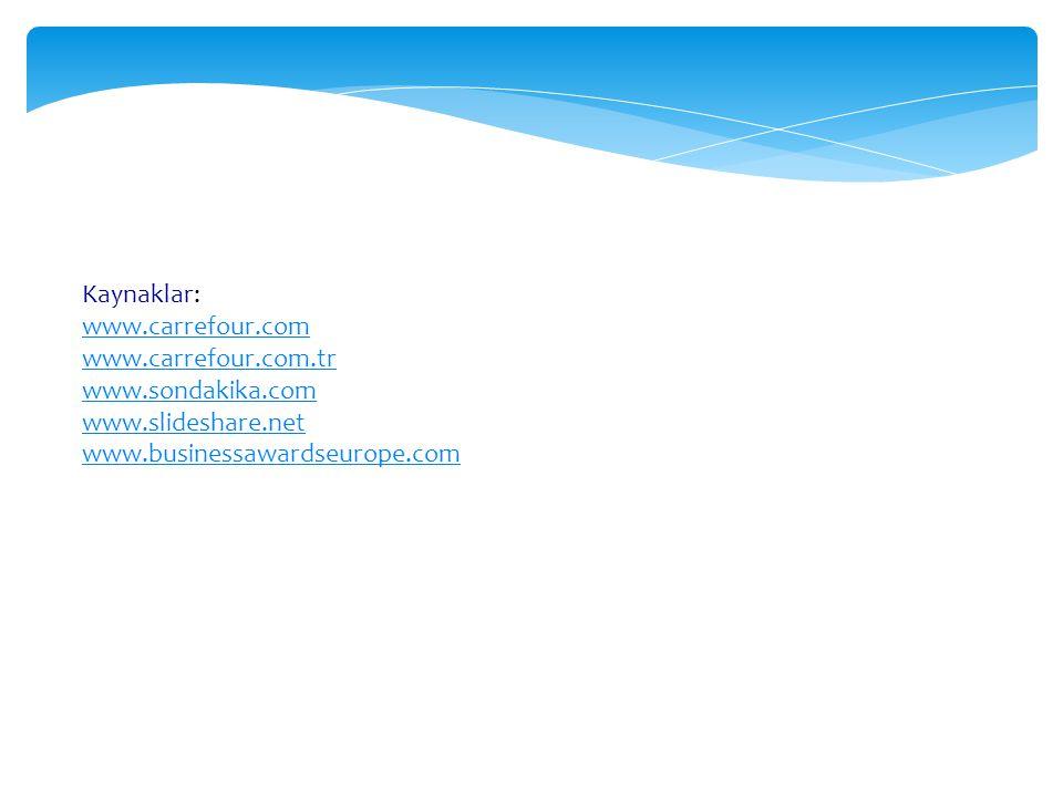 Kaynaklar: www.carrefour.com www.carrefour.com.tr www.sondakika.com www.slideshare.net www.businessawardseurope.com