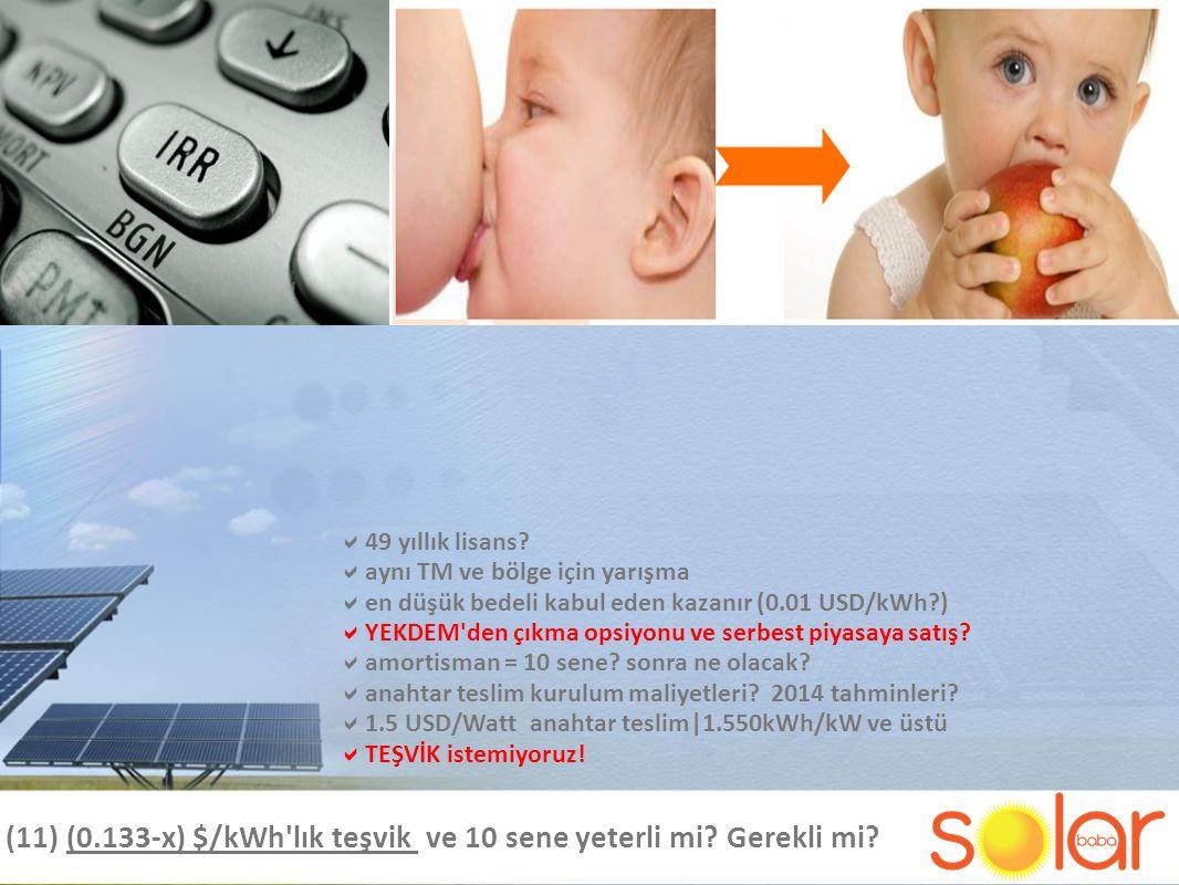 (11) (0.133-x) $/kWh lık teşvik ve 10 sene yeterli mi.