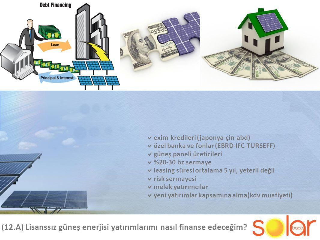 (12.A) Lisanssız güneş enerjisi yatırımlarımı nasıl finanse edeceğim.