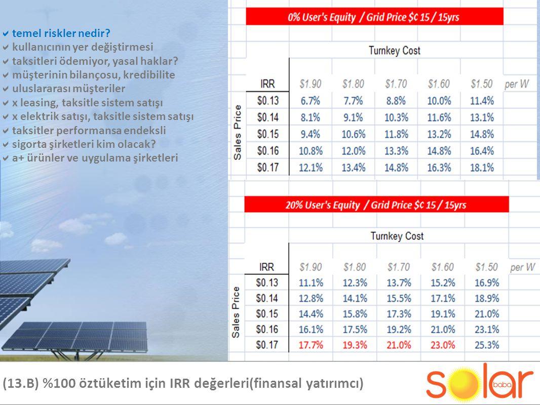 (13.B) %100 öztüketim için IRR değerleri(finansal yatırımcı)  temel riskler nedir.