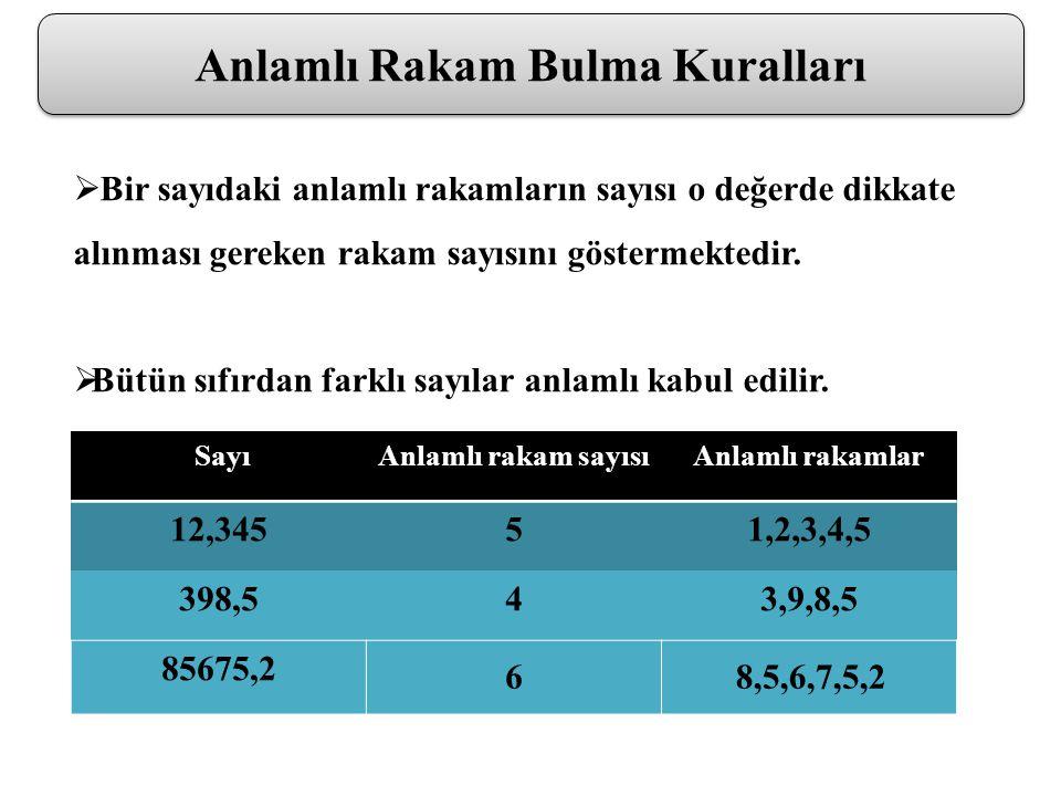 Anlamlı Rakam Bulma Kuralları  Bir sayıdaki anlamlı rakamların sayısı o değerde dikkate alınması gereken rakam sayısını göstermektedir.  Bütün sıfır