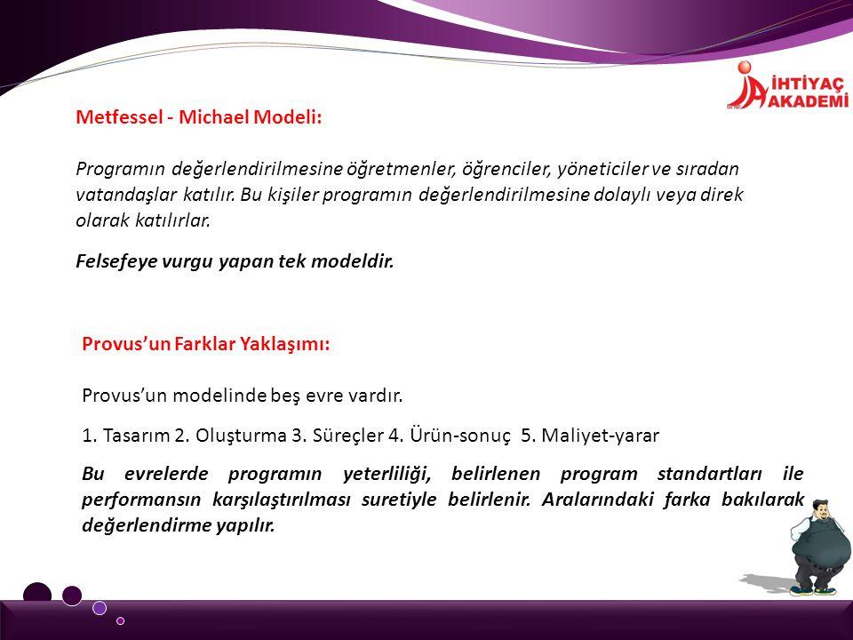 Metfessel - Michael Modeli: Programın değerlendirilmesine öğretmenler, öğrenciler, yöneticiler ve sıradan vatandaşlar katılır. Bu kişiler programın de
