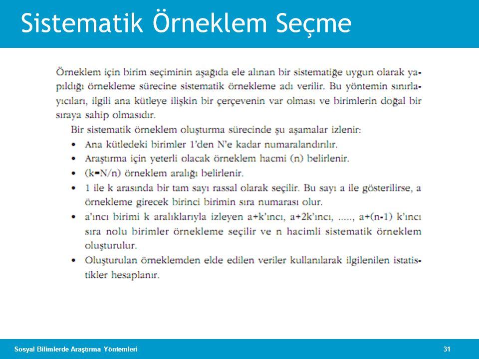 31Sosyal Bilimlerde Araştırma Yöntemleri Sistematik Örneklem Seçme