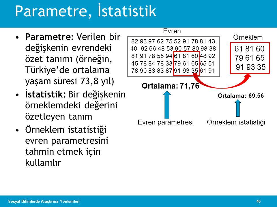 46Sosyal Bilimlerde Araştırma Yöntemleri Parametre, İstatistik •Parametre: Verilen bir değişkenin evrendeki özet tanımı (örneğin, Türkiye'de ortalama