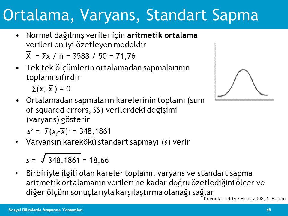 48Sosyal Bilimlerde Araştırma Yöntemleri Ortalama, Varyans, Standart Sapma •Normal dağılmış veriler için aritmetik ortalama verileri en iyi özetleyen