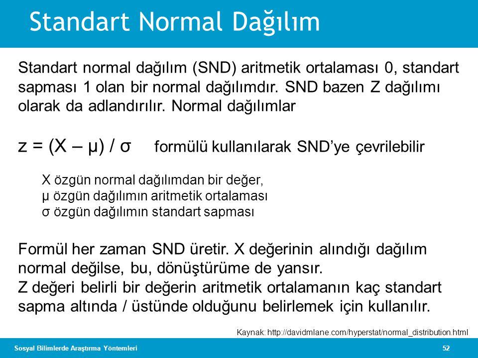 52Sosyal Bilimlerde Araştırma Yöntemleri Standart normal dağılım (SND) aritmetik ortalaması 0, standart sapması 1 olan bir normal dağılımdır. SND baze