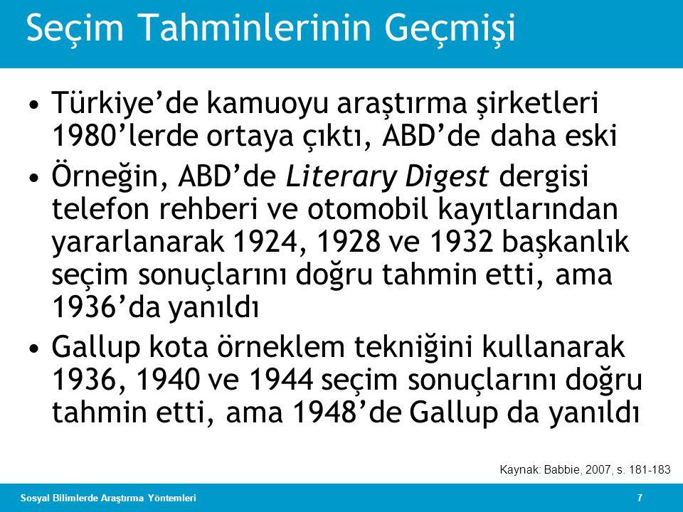 7Sosyal Bilimlerde Araştırma Yöntemleri Seçim Tahminlerinin Geçmişi •Türkiye'de kamuoyu araştırma şirketleri 1980'lerde ortaya çıktı, ABD'de daha eski