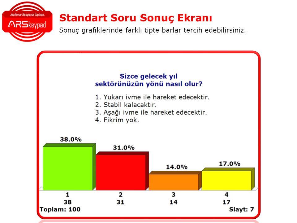 Standart Soru Sonuç Ekranı Sonuç grafiklerinde farklı tipte barlar tercih edebilirsiniz.