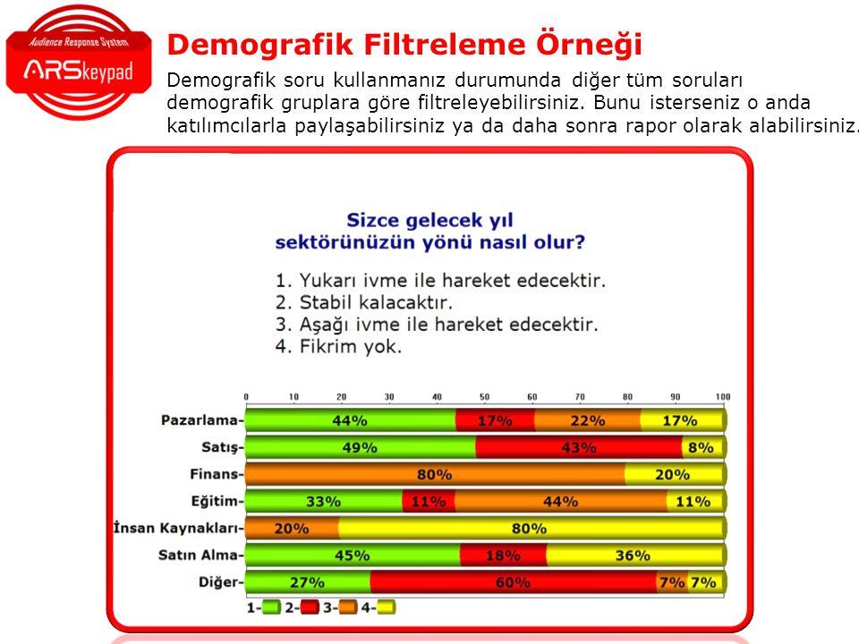 Demografik Filtreleme Örneği Demografik soru kullanmanız durumunda diğer tüm soruları demografik gruplara göre filtreleyebilirsiniz.