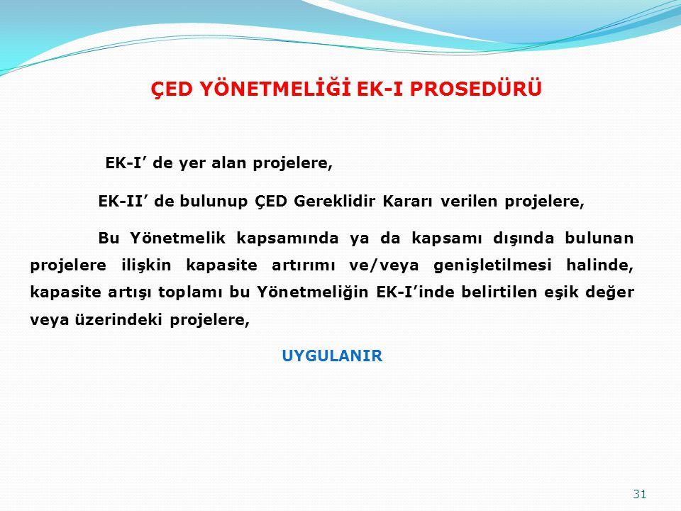 ÇED YÖNETMELİĞİ EK-I PROSEDÜRÜ EK-I' de yer alan projelere, EK-II' de bulunup ÇED Gereklidir Kararı verilen projelere, Bu Yönetmelik kapsamında ya da