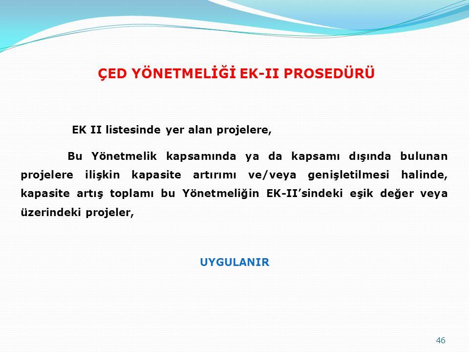 ÇED YÖNETMELİĞİ EK-II PROSEDÜRÜ EK II listesinde yer alan projelere, Bu Yönetmelik kapsamında ya da kapsamı dışında bulunan projelere ilişkin kapasite