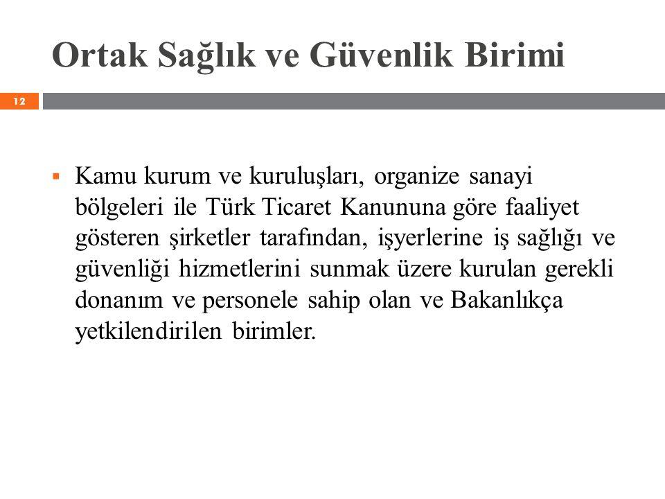 Ortak Sağlık ve Güvenlik Birimi  Kamu kurum ve kuruluşları, organize sanayi bölgeleri ile Türk Ticaret Kanununa göre faaliyet gösteren şirketler tara
