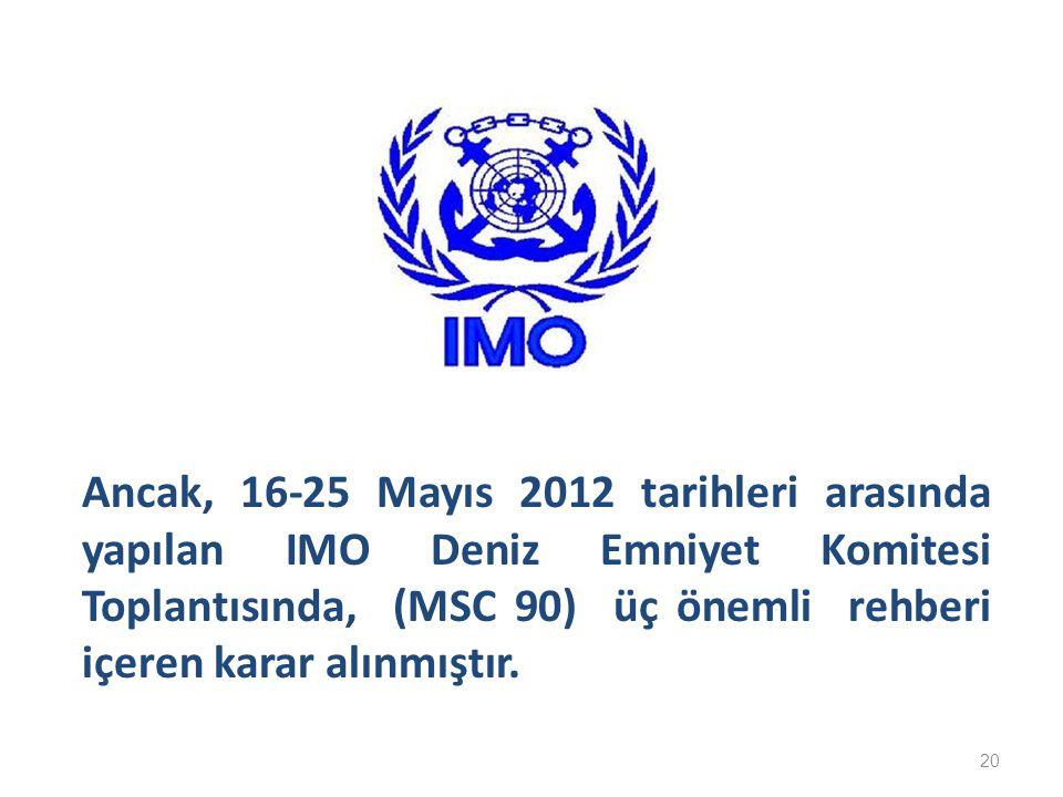 Ancak, 16-25 Mayıs 2012 tarihleri arasında yapılan IMO Deniz Emniyet Komitesi Toplantısında, (MSC 90) üç önemli rehberi içeren karar alınmıştır. 20