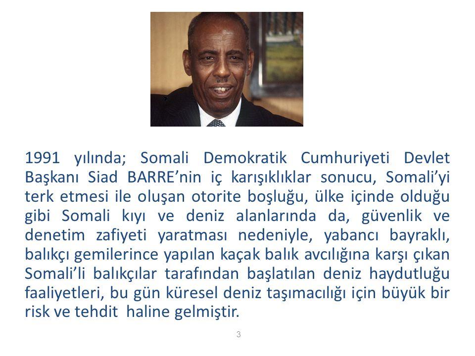1991 yılında; Somali Demokratik Cumhuriyeti Devlet Başkanı Siad BARRE'nin iç karışıklıklar sonucu, Somali'yi terk etmesi ile oluşan otorite boşluğu, ü