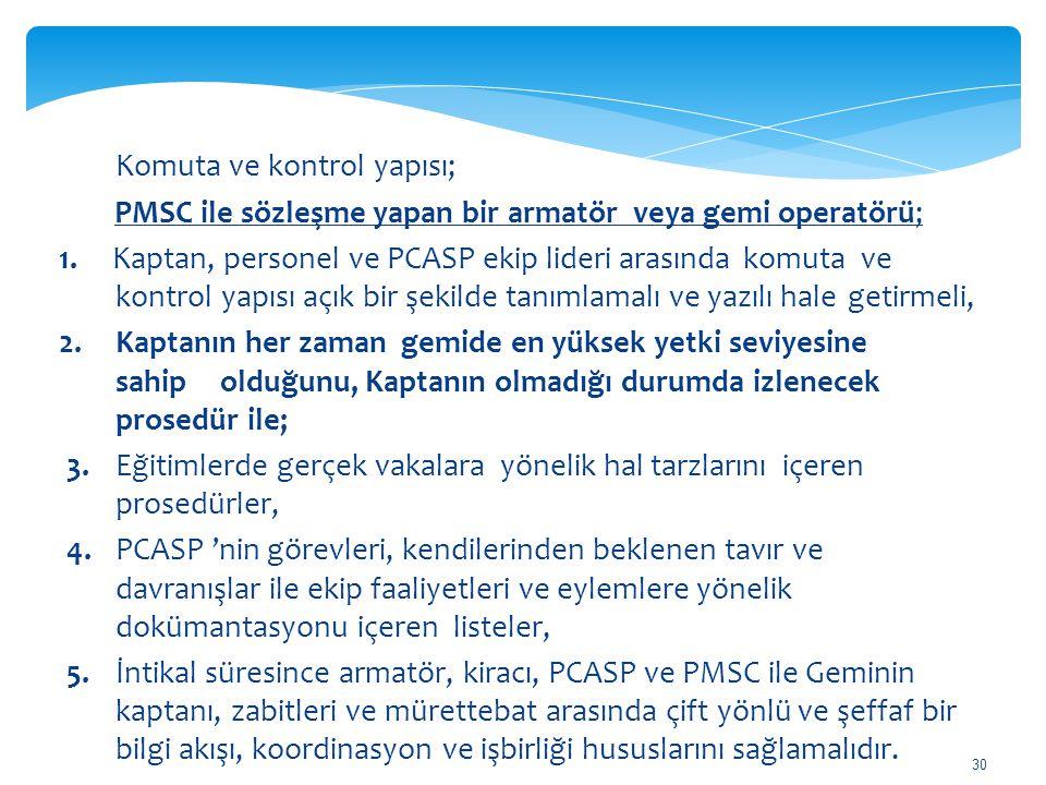 30 Komuta ve kontrol yapısı; PMSC ile sözleşme yapan bir armatör veya gemi operatörü; 1. Kaptan, personel ve PCASP ekip lideri arasında komuta ve kont
