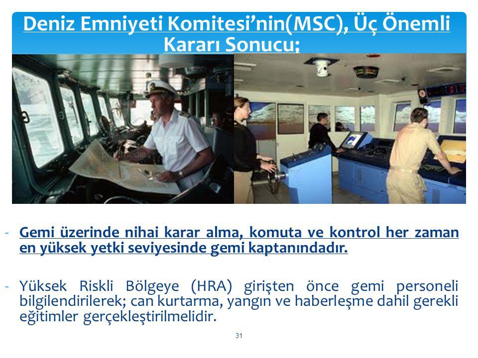 Deniz Emniyeti Komitesi'nin(MSC), Üç Önemli Kararı Sonucu; -Gemi üzerinde nihai karar alma, komuta ve kontrol her zaman en yüksek yetki seviyesinde ge