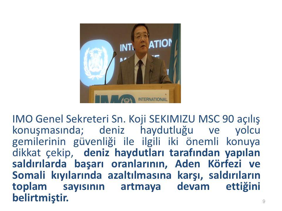 IMO Genel Sekreteri Sn. Koji SEKIMIZU MSC 90 açılış konuşmasında; deniz haydutluğu ve yolcu gemilerinin güvenliği ile ilgili iki önemli konuya dikkat