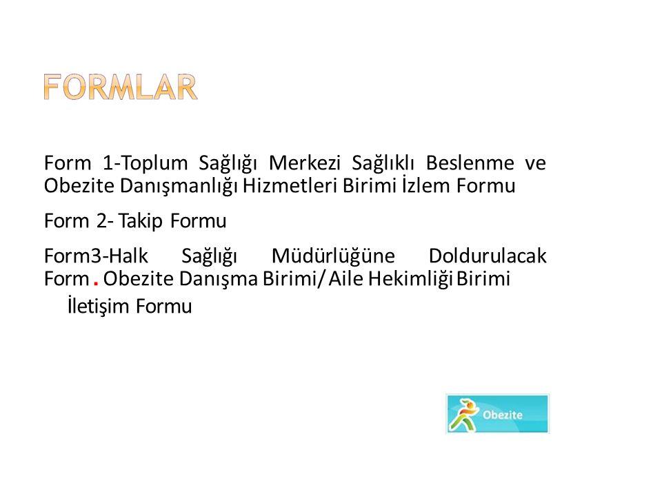 Form 1-Toplum Sağlığı Merkezi Sağlıklı Beslenme ve Obezite Danışmanlığı Hizmetleri Birimi İzlem Formu Form 2- Takip Formu Form3-Halk Sağlığı Müdürlüğü