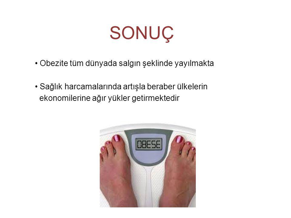 SONUÇ • Obezite tüm dünyada salgın şeklinde yayılmakta • Sağlık harcamalarında artışla beraber ülkelerin ekonomilerine ağır yükler getirmektedir