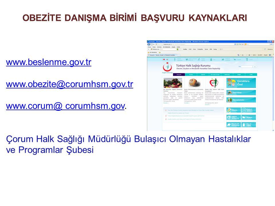OBEZİTE DANIŞMA BİRİMİ BAŞVURU KAYNAKLARI www.beslenme.gov.tr www.obezite@corumhsm.gov.tr www.corum@ corumhsm.govwww.corum@ corumhsm.gov. Çorum Halk S