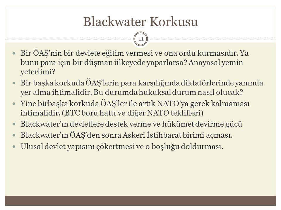 Blackwater Korkusu  Bir ÖAŞ'nin bir devlete eğitim vermesi ve ona ordu kurmasıdır. Ya bunu para için bir düşman ülkeyede yaparlarsa? Anayasal yemin y