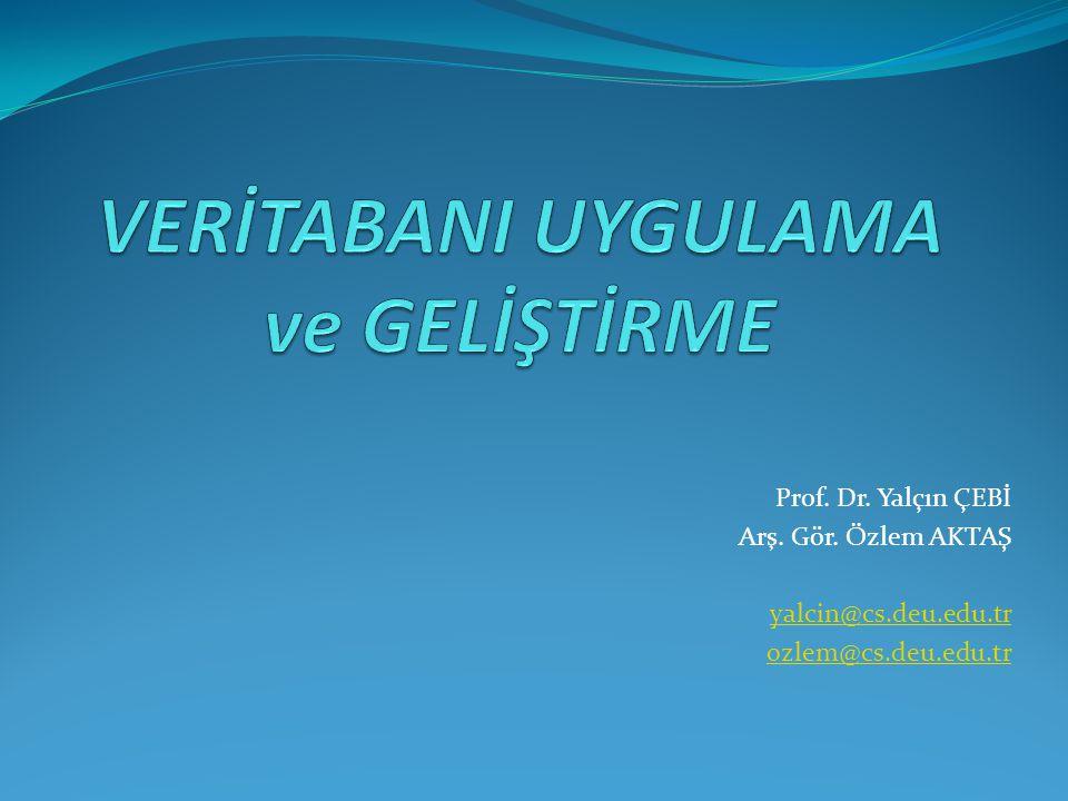 Prof. Dr. Yalçın ÇEBİ Arş. Gör. Özlem AKTAŞ yalcin@cs.deu.edu.tr ozlem@cs.deu.edu.tr