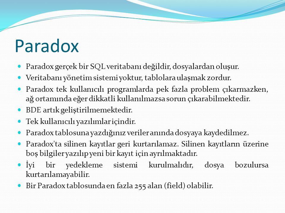 Paradox  Paradox gerçek bir SQL veritabanı değildir, dosyalardan oluşur.  Veritabanı yönetim sistemi yoktur, tablolara ulaşmak zordur.  Paradox tek