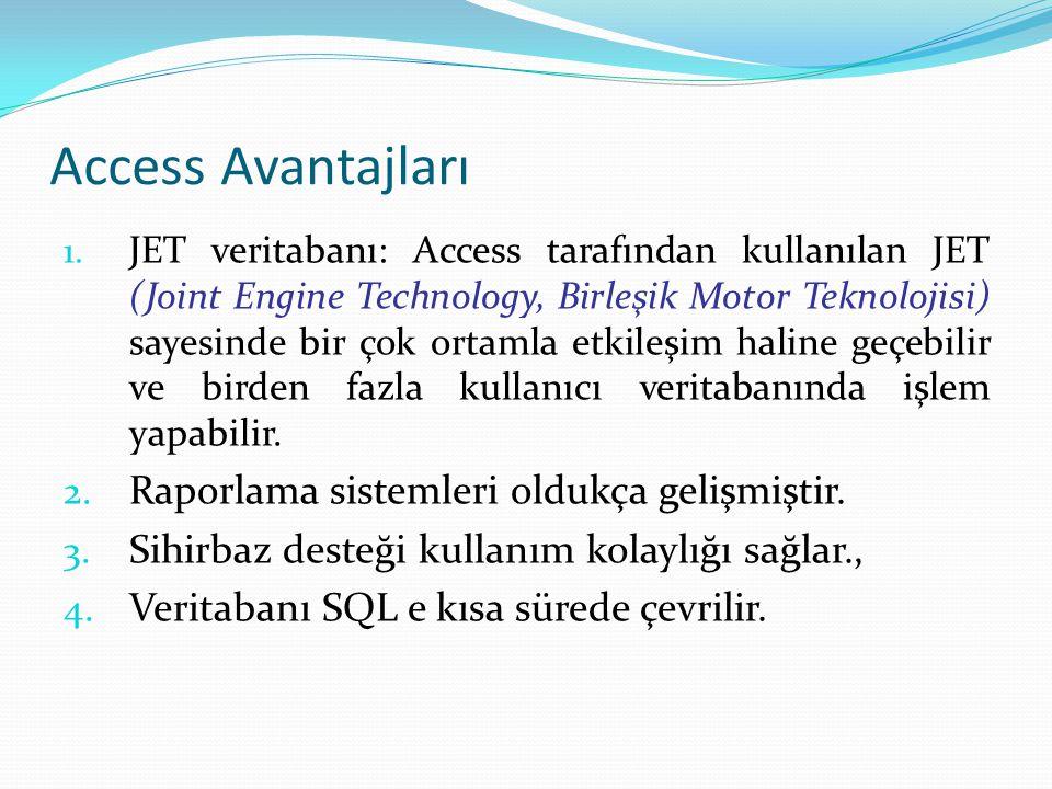 Access Avantajları 1. JET veritabanı: Access tarafından kullanılan JET (Joint Engine Technology, Birleşik Motor Teknolojisi) sayesinde bir çok ortamla