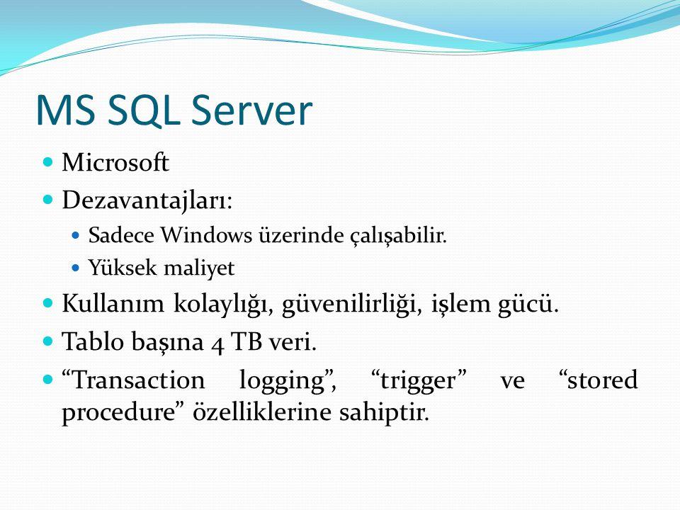 MS SQL Server  Microsoft  Dezavantajları:  Sadece Windows üzerinde çalışabilir.  Yüksek maliyet  Kullanım kolaylığı, güvenilirliği, işlem gücü. 