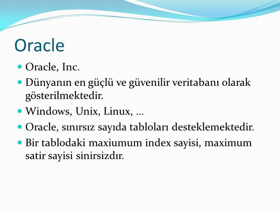 Oracle  Oracle, Inc.  Dünyanın en güçlü ve güvenilir veritabanı olarak gösterilmektedir.  Windows, Unix, Linux,...  Oracle, sınırsız sayıda tablol