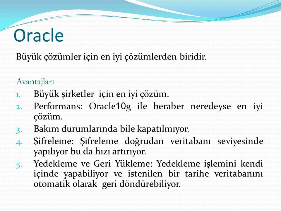 Oracle Büyük çözümler için en iyi çözümlerden biridir. Avantajları 1. Büyük şirketler için en iyi çözüm. 2. Performans: Oracle 10 g ile beraber nerede