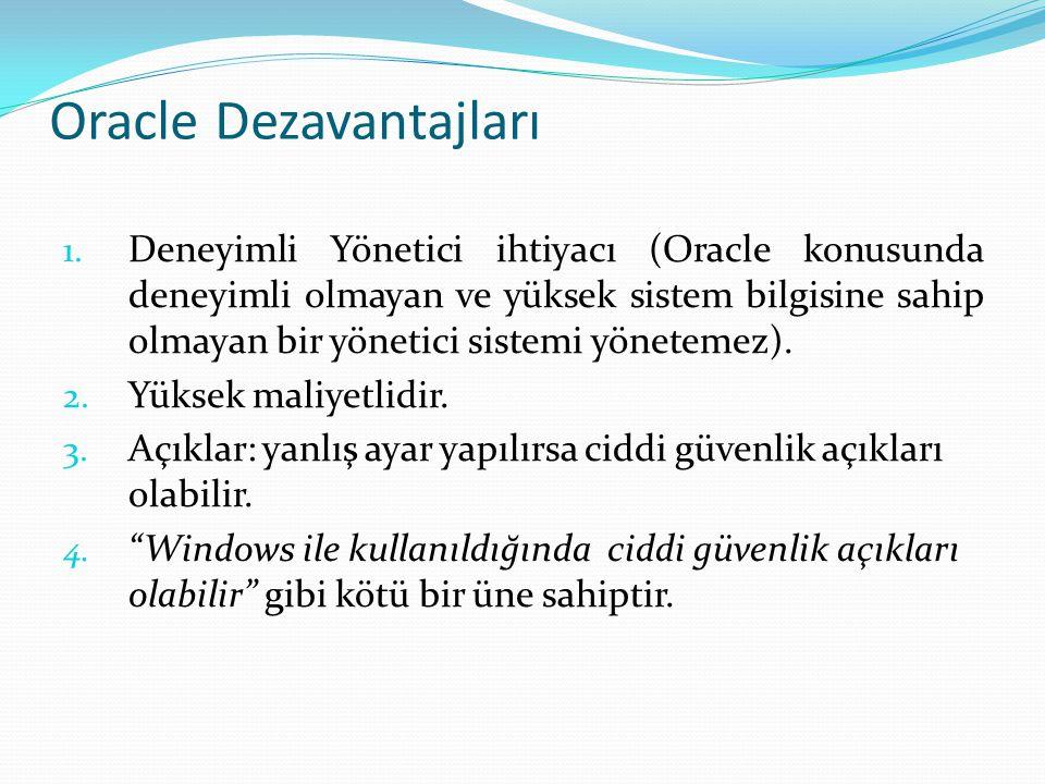 Oracle Dezavantajları 1. Deneyimli Yönetici ihtiyacı (Oracle konusunda deneyimli olmayan ve yüksek sistem bilgisine sahip olmayan bir yönetici sistemi
