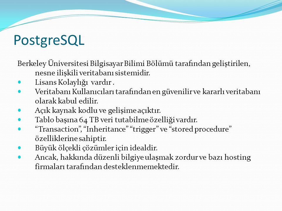 PostgreSQL Berkeley Üniversitesi Bilgisayar Bilimi Bölümü tarafından geliştirilen, nesne ilişkili veritabanı sistemidir.  Lisans Kolaylığı vardır. 