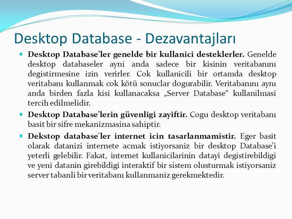  Desktop Database'ler genelde bir kullanici desteklerler. Genelde desktop databaseler ayni anda sadece bir kisinin veritabanını degistirmesine izin v