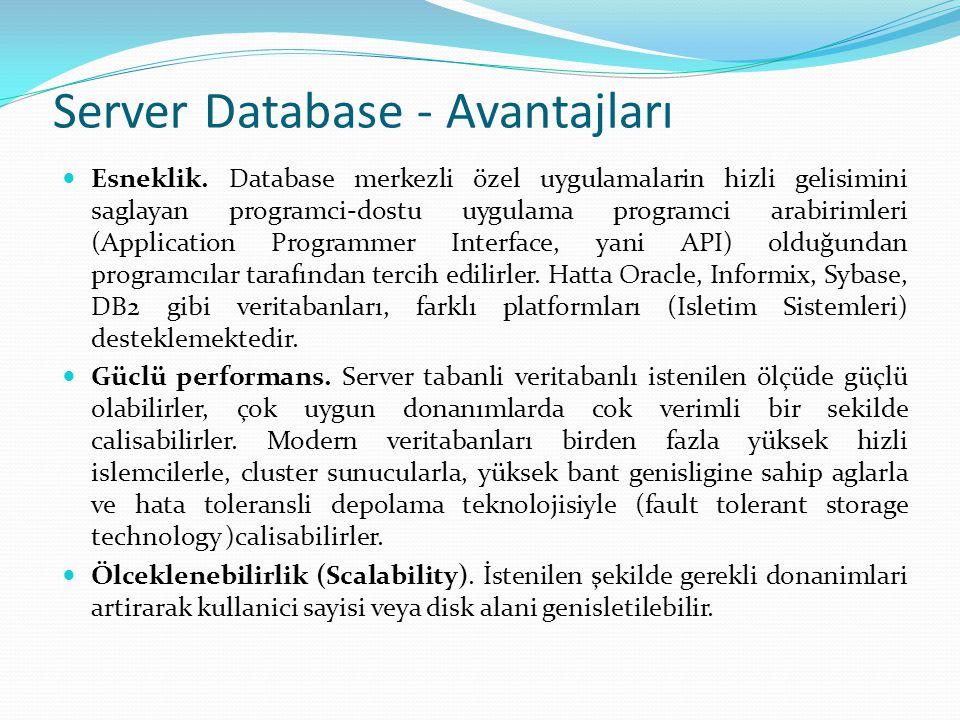 Server Database - Avantajları  Esneklik. Database merkezli özel uygulamalarin hizli gelisimini saglayan programci-dostu uygulama programci arabirimle