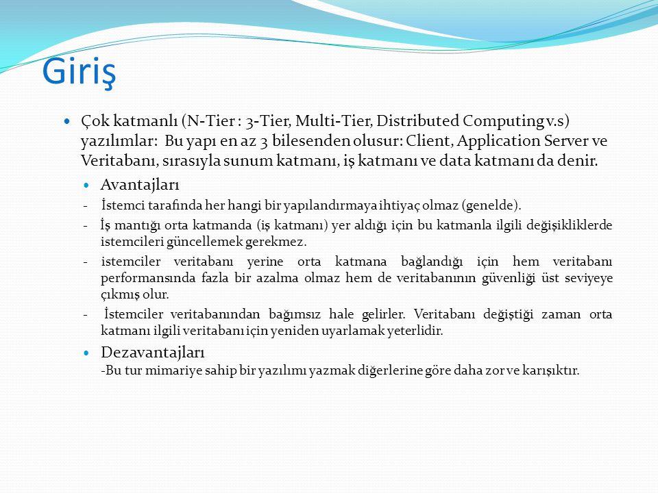 Giriş  Çok katmanlı (N-Tier : 3-Tier, Multi-Tier, Distributed Computing v.s) yazılımlar: Bu yapı en az 3 bilesenden olusur: Client, Application Serve